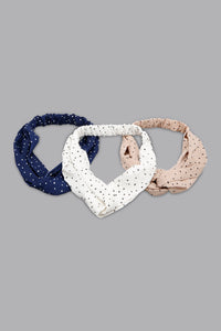 Multicolour Polka Hair Band (Pack of 3)
