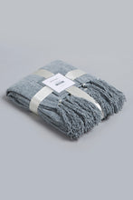 Load image into Gallery viewer, Grey Chenille Throw with Beaded Fringe