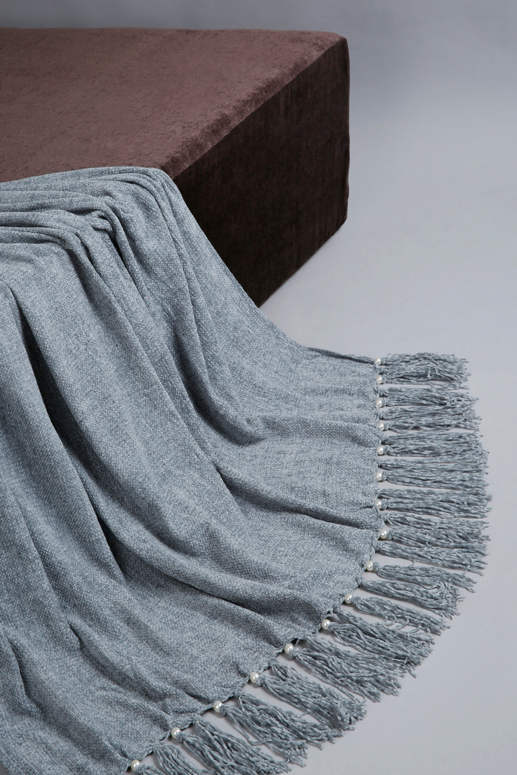 Grey Chenille Throw with Beaded Fringe