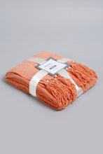 Load image into Gallery viewer, Rust Chenille Throw with Beaded Fringe
