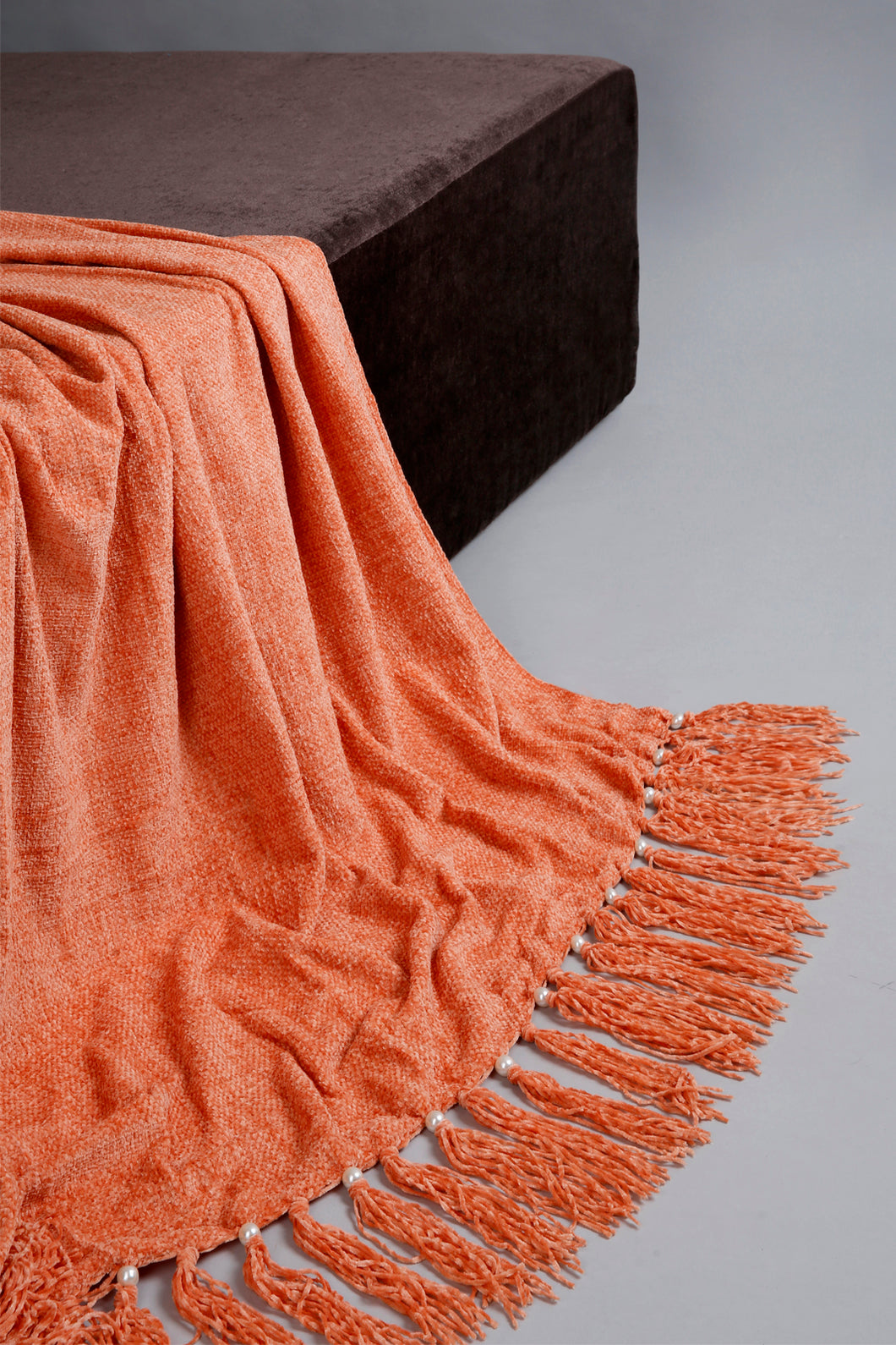 Rust Chenille Throw with Beaded Fringe