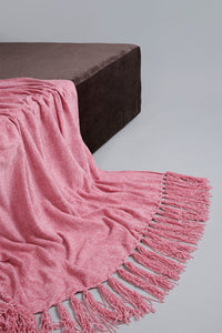 Pink Chenille Throw with Fringe