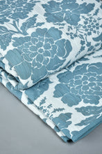 Load image into Gallery viewer, Teal Floral Jacquard 3-Piece Bedspread Set ( Double Size)