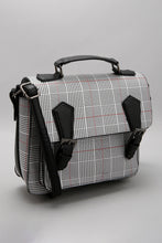 Load image into Gallery viewer, Black Satchel with Check Print