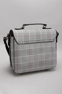 Black Satchel with Check Print