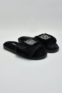 Black Slipper With Embellished Trim