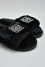 Load image into Gallery viewer, Black Slipper With Embellished Trim