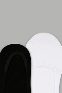 Black/White Plain Invisible Socks (3-Pack)