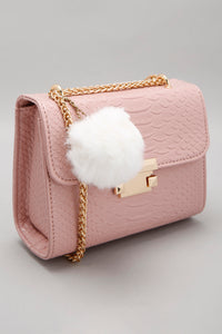Pink Cross Body Bag with Reptile Texture