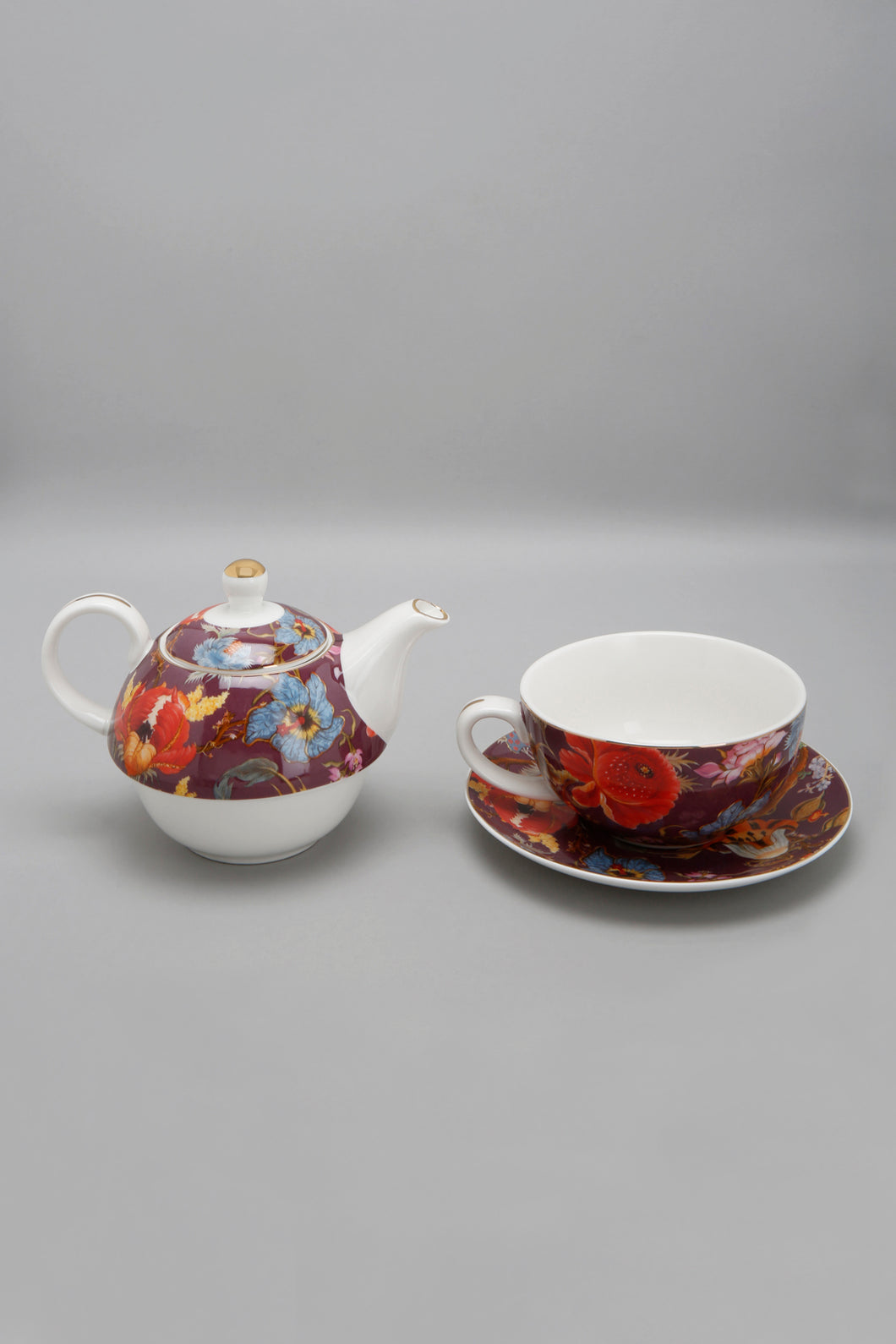Purple Floral Design Tea Set (3 Piece)