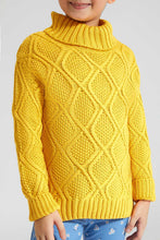 Load image into Gallery viewer, Mustard Cable Knit High Neck Sweater