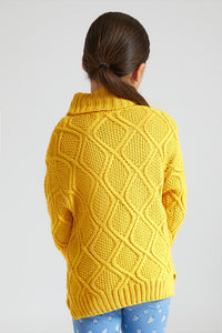 Mustard Cable Knit High Neck Sweater