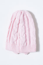 Load image into Gallery viewer, Pink and Maroon Cable Knit Beanie with Bow (Pack of 2)