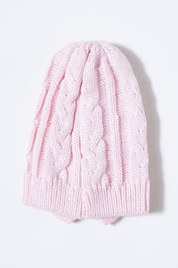 Pink and Maroon Cable Knit Beanie with Bow (Pack of 2)