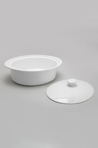 White Oval Baking Dish with Lid (Large)