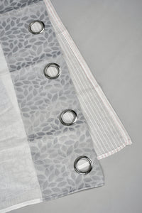 Grey Leaves Sheer Curtain (1 Piece)