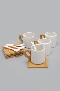 White Tea Set Cup Coaster and Spoon (8 Piece)