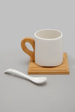 Load image into Gallery viewer, White Tea Set Cup Coaster and Spoon (8 Piece)