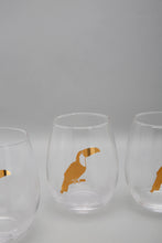 Load image into Gallery viewer, Clear Glass Tumbler Gold Toucan Design (4 Piece Set)