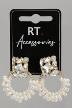 Load image into Gallery viewer, Gold Pearl And Rhinestone Earrings