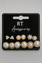Load image into Gallery viewer, Gold Pearl Stud Earrings (Set of 6)