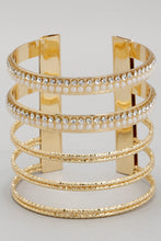 Load image into Gallery viewer, Gold Cuff Rhinestone Bracelet
