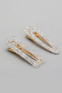 Gold Glitter Snap Hair Clips (Pack of 2)