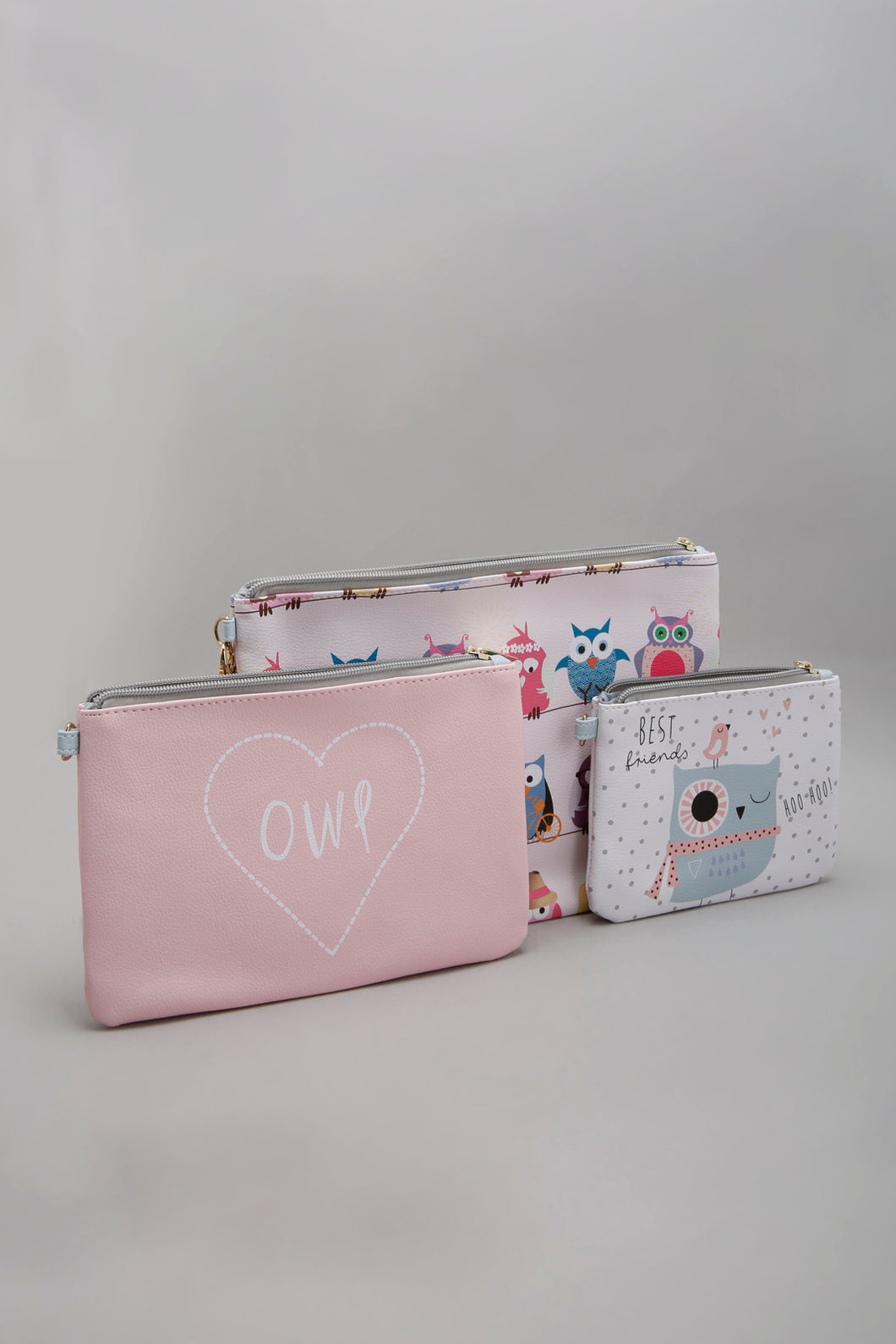 Pink Printed Cosmetic Pouch (Pack of 3)