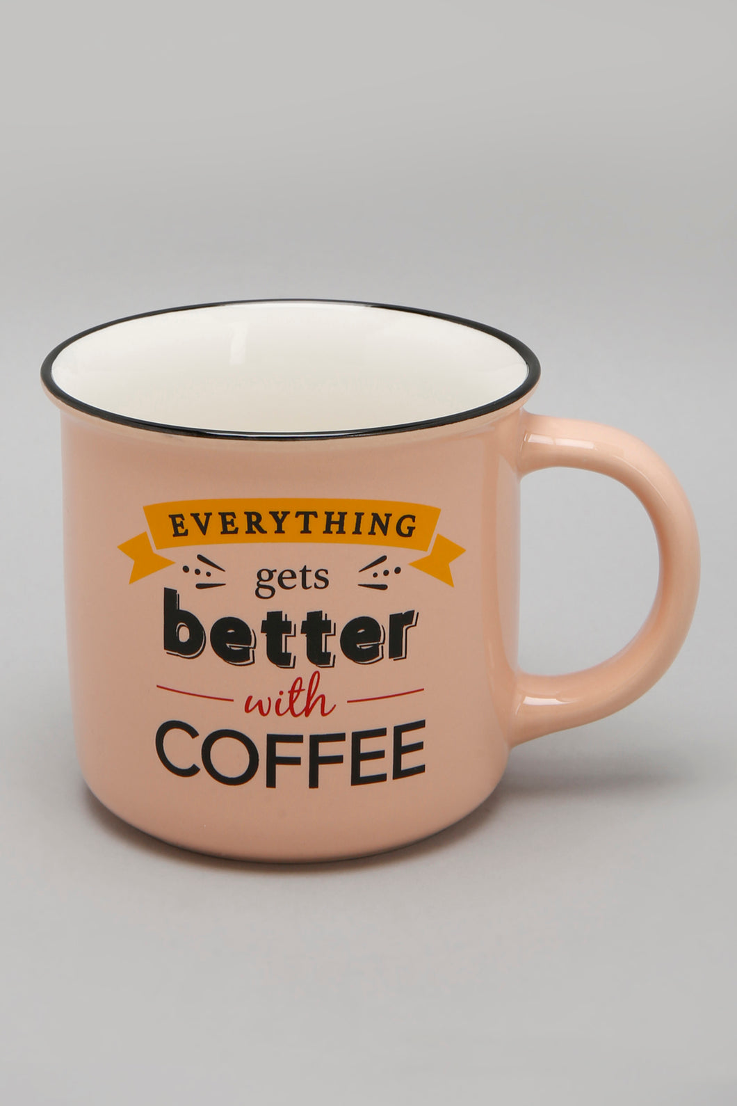 Coral Everything Gets Better with Coffee Print Mug