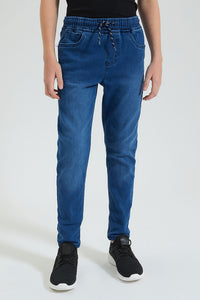 Blue Pull On Knitted Jean