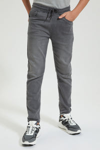 Grey Pull On Knitted Jean