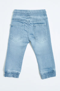 Light Wash Knitted Jogger Jean
