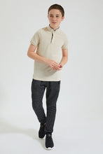 Load image into Gallery viewer, Beige Mandarin Collar Polo