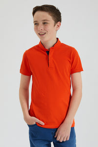 Orange Mandarin Collar Polo