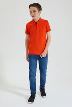 Load image into Gallery viewer, Orange Mandarin Collar Polo
