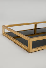 Load image into Gallery viewer, Gold/Black Rectangle Glass Tray