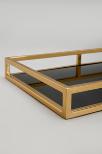 Gold/Black Rectangle Glass Tray