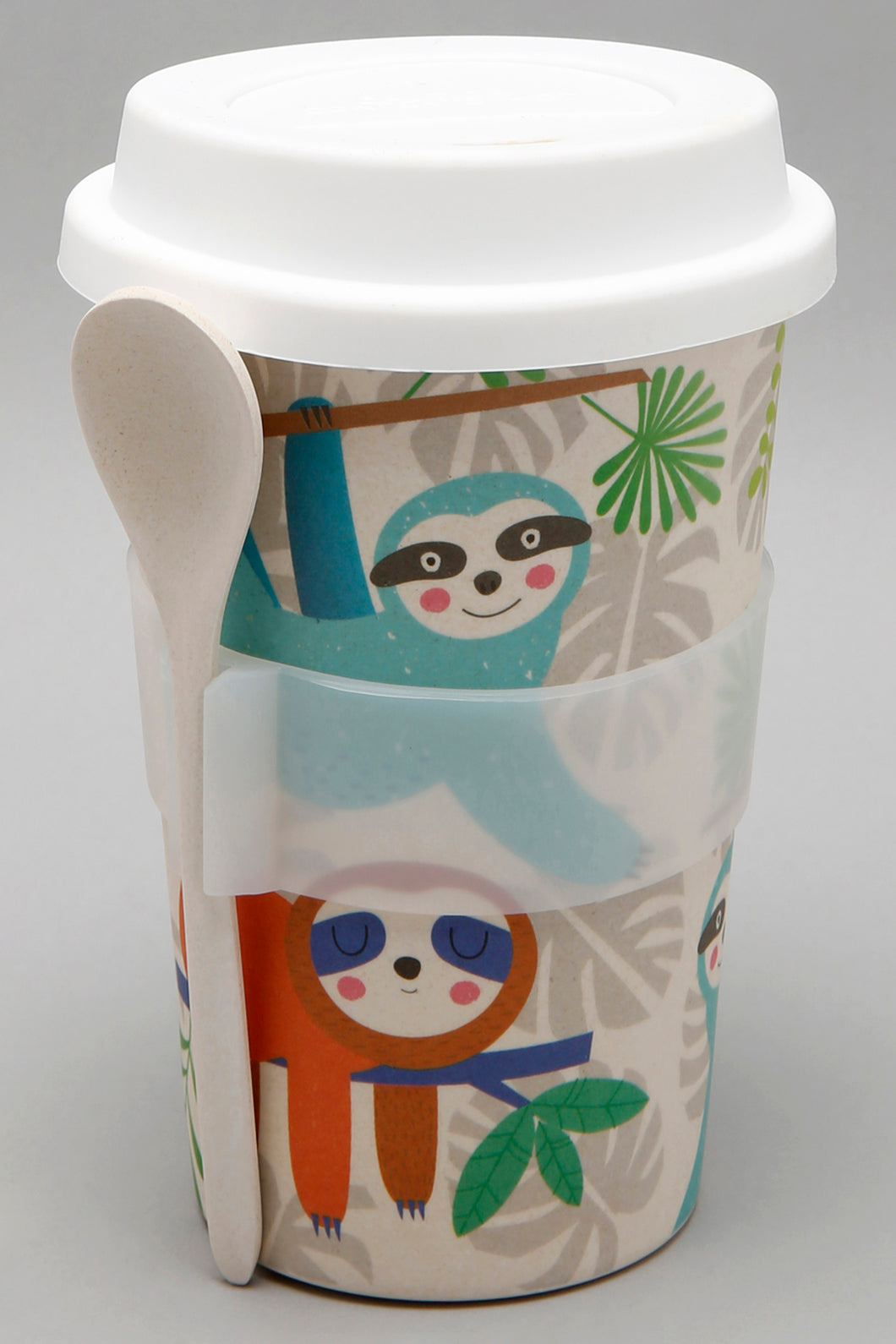 Beige Character Print Travel Mug with Spoon