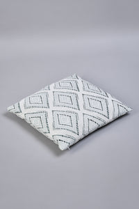 Teal Geometric Jacquard Cushion