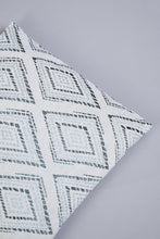 Load image into Gallery viewer, Teal Geometric Jacquard Cushion