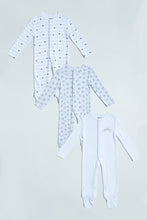 Load image into Gallery viewer, Grey/White Sleep Suits (Pack of 3)