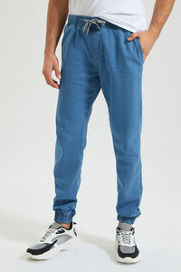 Blue Knit Denim Jogger Jean With Stretch