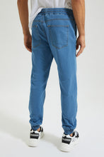 Load image into Gallery viewer, Blue Knit Denim Jogger Jean With Stretch