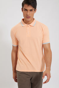 Peach Tipping Collar Polo Shirt