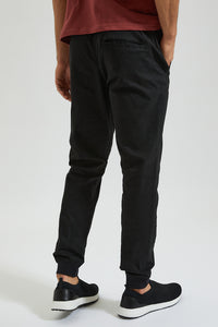 Black Twill Jogger With Stretch