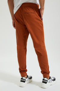 Brown Twill Jogger With Stretch