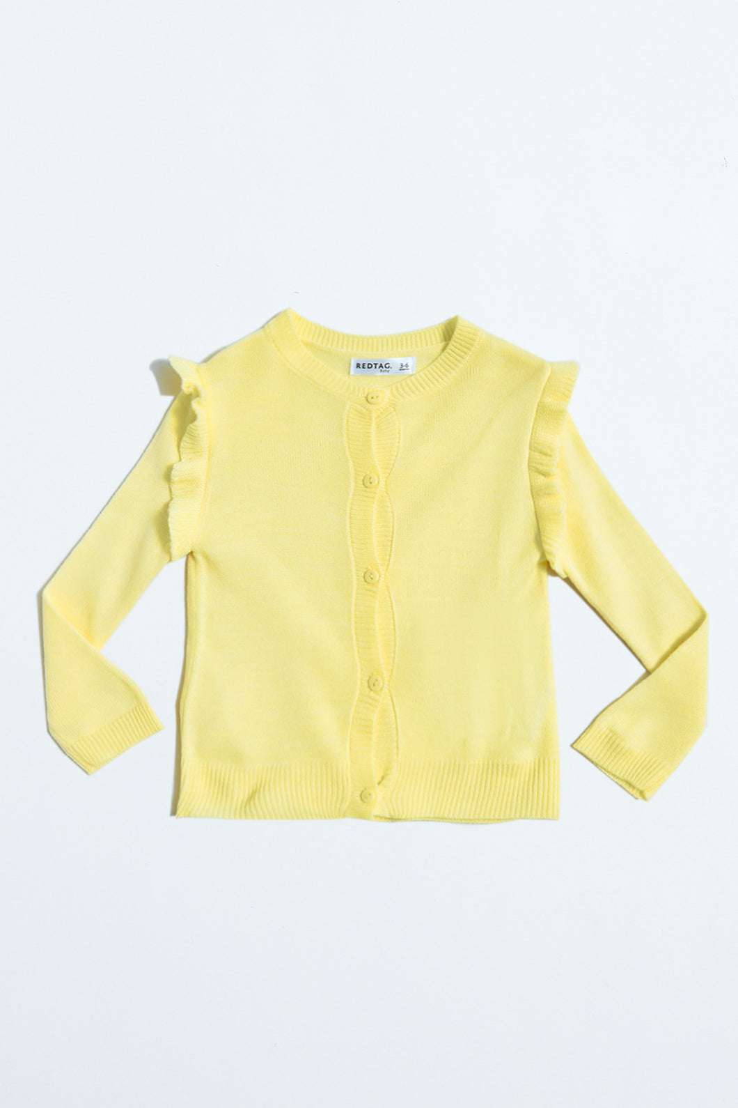 Yellow Cardigan With Frill