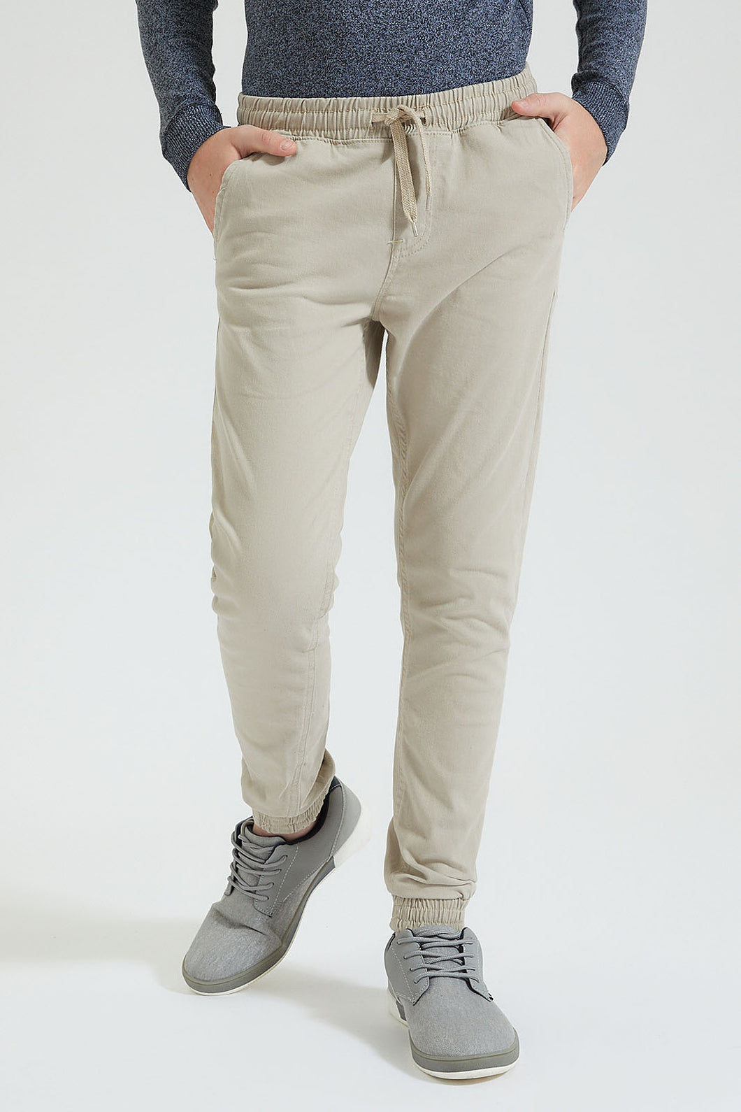 Beige Pull-On Jogger