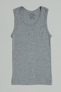White/Grey Sleeveless Vests (Pack of 3)