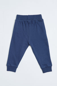 Navy Super Kid Print Knit Jogger